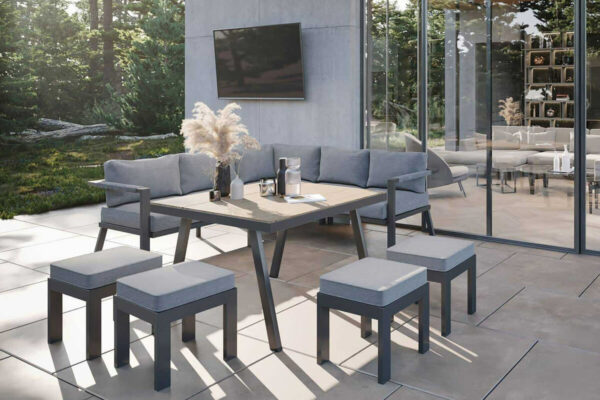 Grado 2 narożnik ogrodowy z wysokim stołem antracytowe aluminium Zumm eleganckie meble ogrodowe aluminium