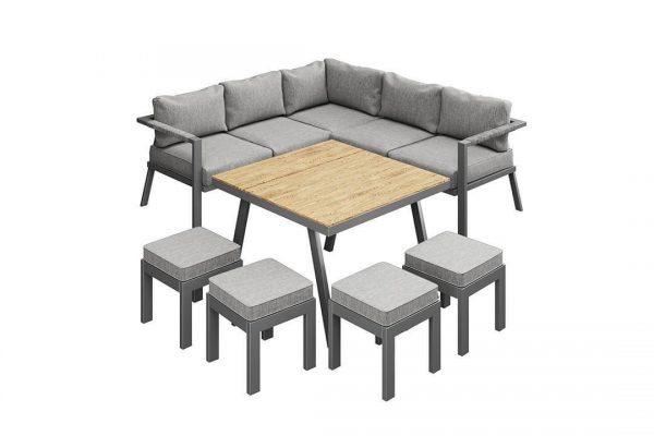 Gardo 2 narożnik ogrodowy z wysokim stołem antracytowe aluminium | Zumm
