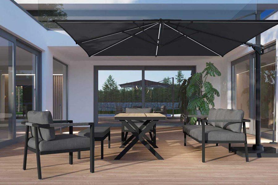 Grado ogrodowy zestaw wypoczynkowy z wysokim stołem antracytowe aluminium Zumm