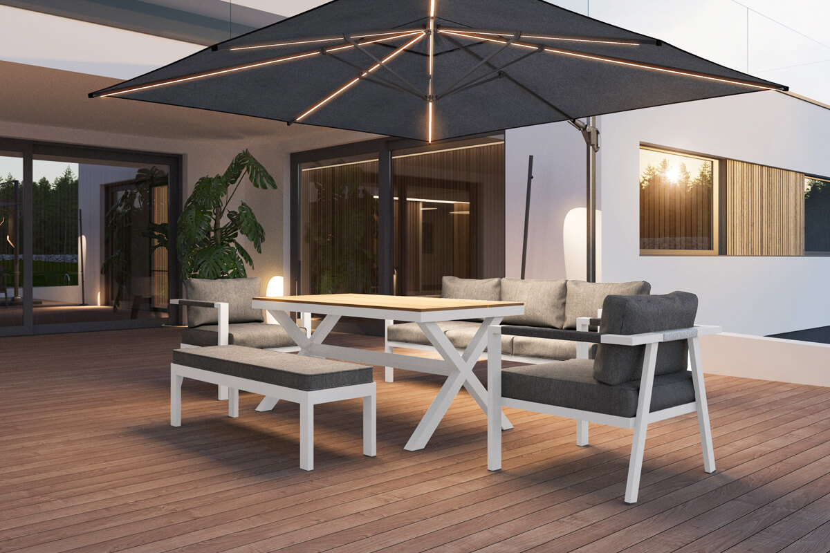 Grado ogrodowy zestaw wypoczynkowy z wysokim stołem białe aluminium Zumm