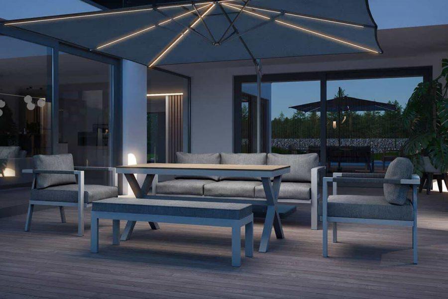 Grado ogrodowy zestaw wypoczynkowy z wysokim stołem szare aluminium Zumm