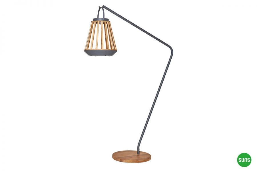 Kate ogrodowe lampy solarne z drewna teakowego kolor antracyt stojak lampy Jill SUNS