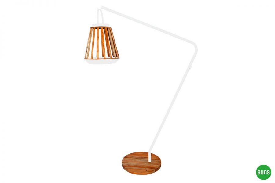 Kate ogrodowe lampy solarne z drewna teakowego kolor biały stojak lampy Jill SUNS