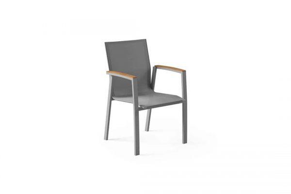 Leon nowoczesne krzesło ogrodowe aluminium podłokietniki teak szare siatka Zumm