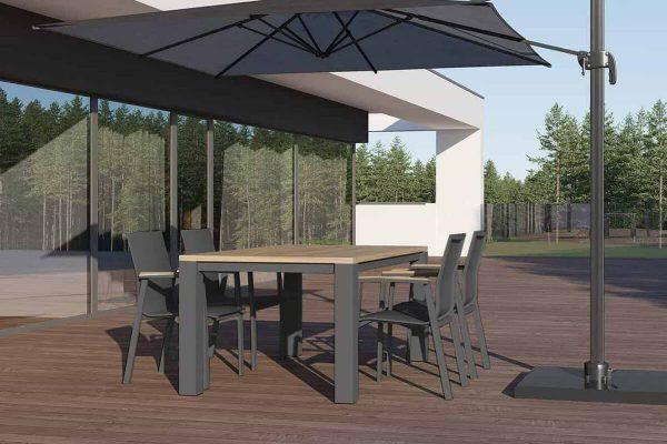 Madrit Leon nowoczesny zestaw stołowy do ogrodu 4-6 osób szare aluminium stół ogrodowy 4 krzesła Zumm