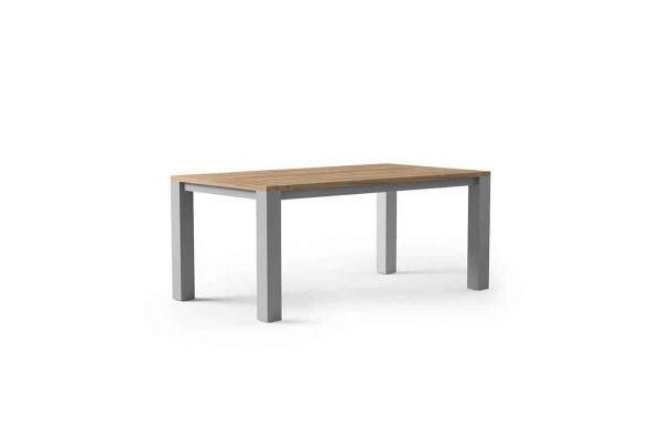 Madrit nowoczesny stół ogrodowy aluminium teak kolor szary Zumm