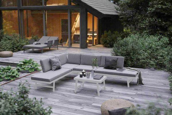 Masca funkcjonalny zestaw ogrodowy aluminium biały narożnik ogrodowy Zumm