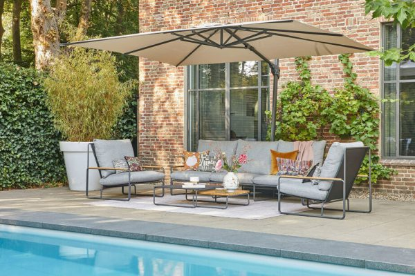 Merano nowoczesny komplet mebli ogrodowych antracytowa podstawa sofa ogrodowa 3 osobowa fotele ogrodowe szare poduszki Zumm