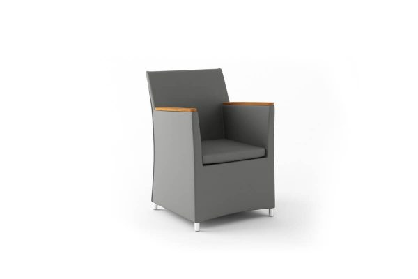 Merida elegancki fotel do ogrodu aluminium kolor szary polietylen drewno teak Zumm