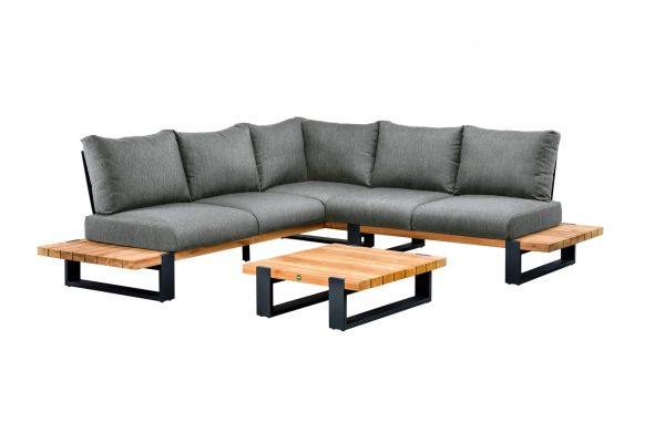 Nardo 1 narożnik tarasowy aluminium drewno teakowe antracytowe luksusowe meble tarasowe Suns