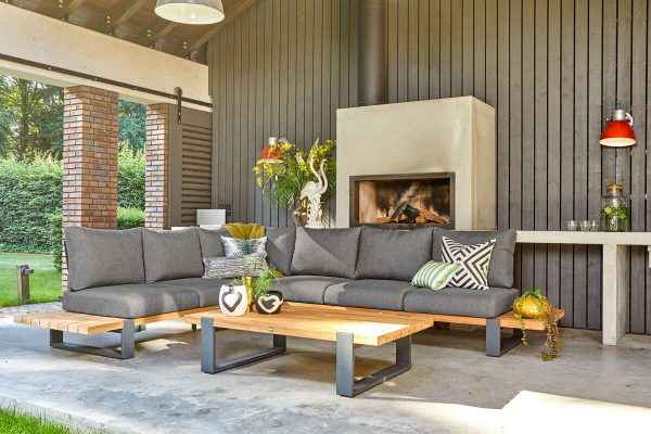 Nardo 2 narożny zestaw wypoczynkowy drewno teakowe aluminium kolor antracytowy tapicerka Sunproof Suns