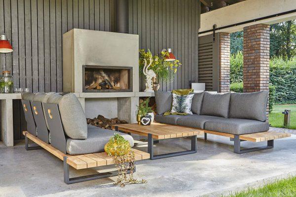 Nardo 3 ogrodowy zestaw wypoczynkowy drewno teakowe aluminium sofy ogrodowe antracytowe szare poduszki sunproof Suns