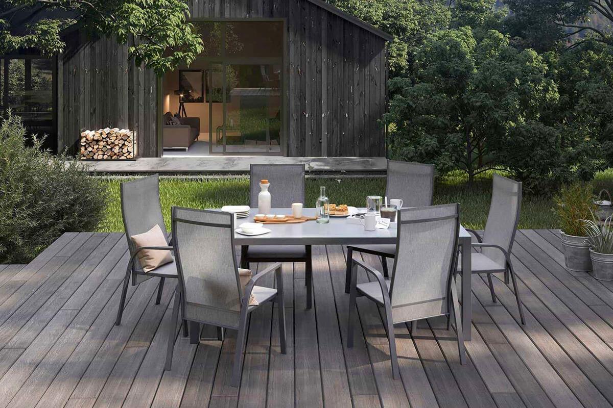 Oviedo nowoczesny stół ogrodowy aluminium szkło kolor antracyt szklany blat krzesła ogrodowe Zumm