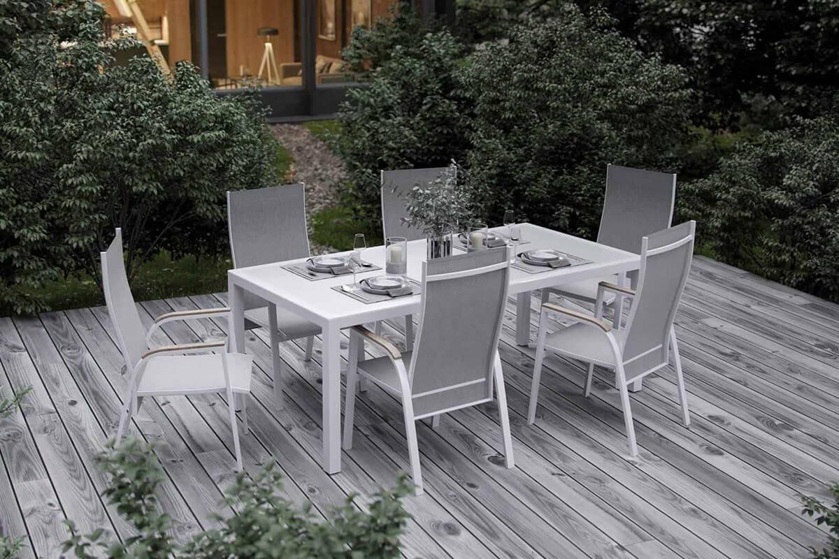 Oviedo nowoczesny stół ogrodowy aluminium szkło kolor biały szklany blat krzesła ogrodowe Zumm