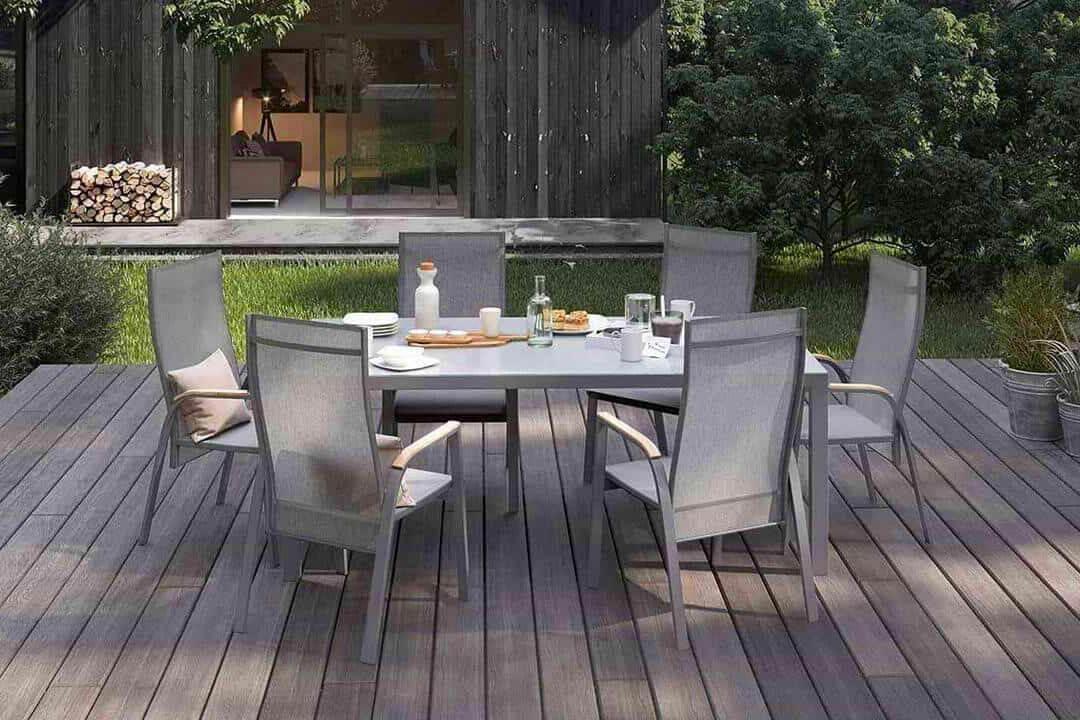 Oviedo nowoczesny stół ogrodowy aluminium szkło kolor szary szklany blat krzesła ogrodowe Zumm