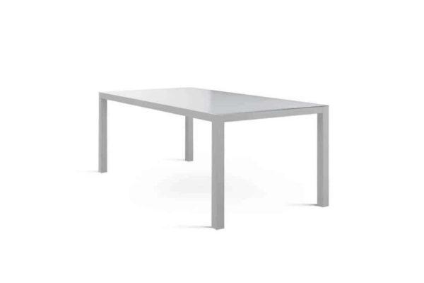 Oviedo nowoczesny stół ogrodowy aluminium szkło szary szklany blat Zumm
