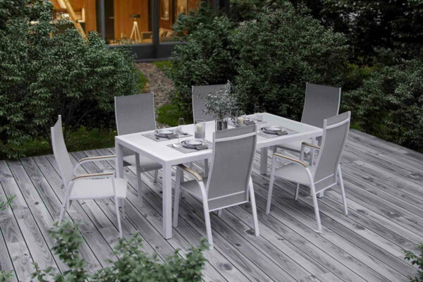 Oviedo zestaw ogrodowy stołowy 4-6 osób stół ogrodowy 6 krzeseł ogrodowych kolor biały drewno teak Zumm
