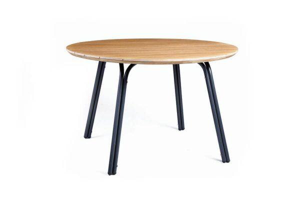 Simi nowoczesny stół ogrodowy blat eukaliptus stół okrągły SUNS