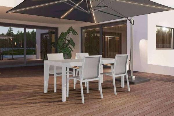 Toledo Leon zestaw ogrodowy stołowy 4-8 osób stół ogrodowy aluminium Toledo 4 krzesła ogrodowych Leon teak kolor biały Zumm