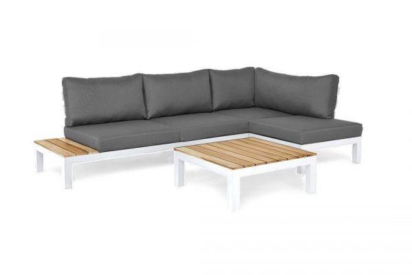 Vita 1 narożnik tarasowy aluminium drewno teakowe prawy białe aluminium szare poduszki Zumm