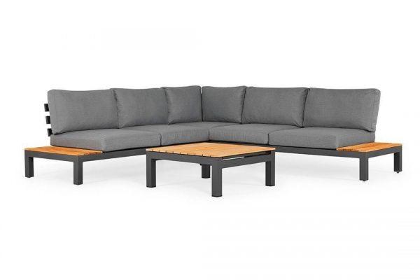 Vita 2 narożnik ogrodowy aluminium drewno teakowe antracytowy narożnik szare poduszki Zumm
