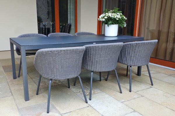 Bergen zestaw ogrodowy stołowy dla 6 osób stół krzesła ogrodowe pleciona szara lina aluminium Twojasista luksusowe meble ogrodowe