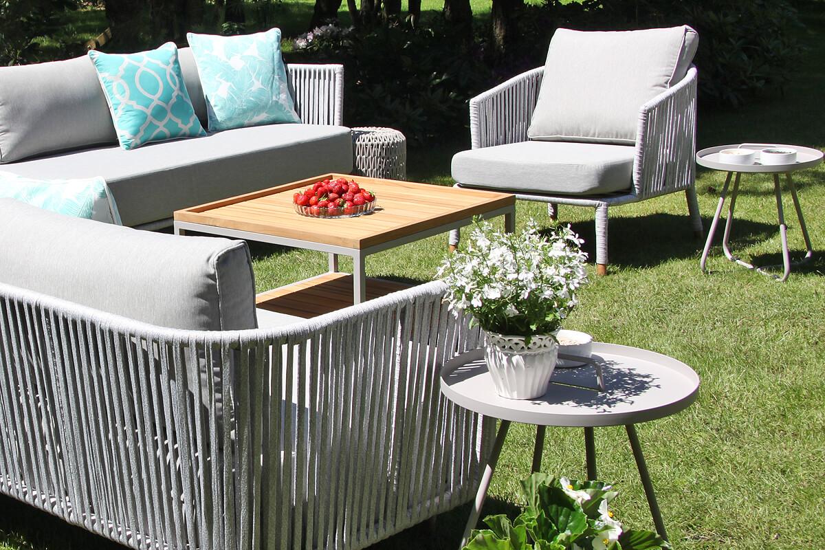 Cala szary stolik ogrodowy z aluminium stoliki kawowe aluminium rozmiar S M zestaw narożny Coma Twojasiesta meble ogrodowe aluminium