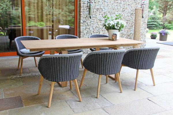 Cologne Spring zestaw stołowy ogrodowy 6-8 osobowy stół teakowy 240 cm 6 krzeseł plecionych szarych Twojasiesta designerskie meble ogrodowe