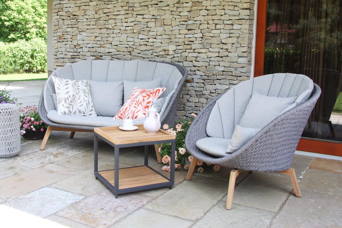 Cologne Winter nowoczesny zestaw tarasowy sofa ogrodowa fotel stolik drewno teakowe aluminium lina Doble poduszka ogrodowa Twoja Siesta luksusowe meble ogrodowe