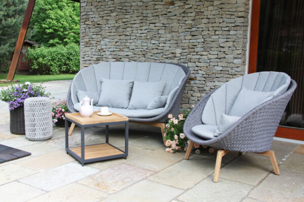Cologne Winter nowoczesny zestaw tarasowy sofa ogrodowa fotel stolik drewno teakowe aluminium lina Twoja Siesta luksusowe meble ogrodowe