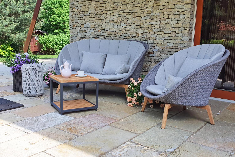 Cologne Winter nowoczesny zestaw tarasowy sofa ogrodowa fotel stolik płaska szara lina Twoja Siesta nowoczesne meble ogrodowe