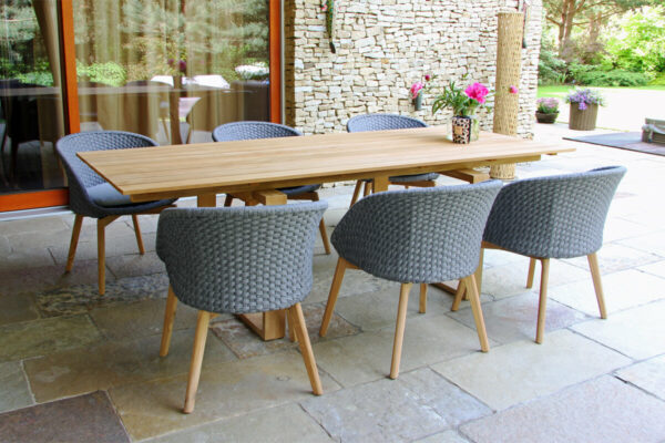 Cologne Winter ogrodowy zestaw stołowy 6-8 osób stół ogrodowy teakowy 6 krzesła plecione lina Twojasiesta designerskie meble tarasowe