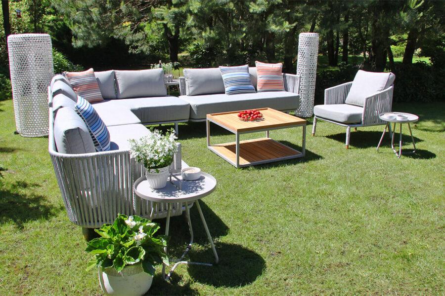 Coma Club meble ogrodowe wypoczynkowe zestaw modułowy duży lampy ogrodowe Silo poduszki Doble linie Twojasiesta aluminiowe meble ogrodowe