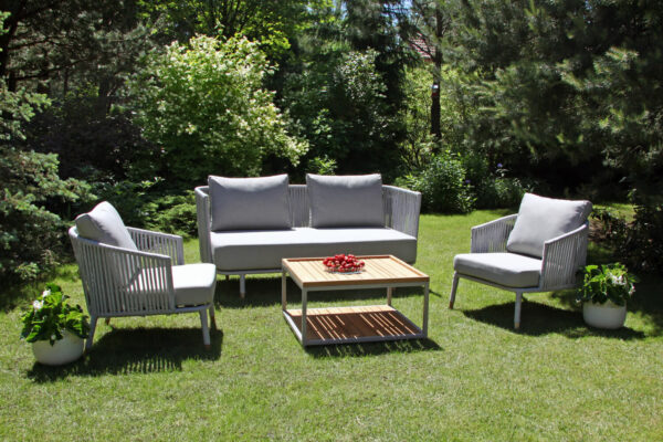 Coma Garden eleganckie meble ogrodowe aluminium lina jasnoszara sofa podwójna ogrodowa fotel stolik Twoja Siesta luksusowe meble tarasowe