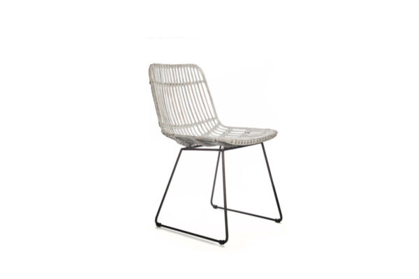 Dinan krzesło ogrodowe rattanowe białe na płozach Vimine