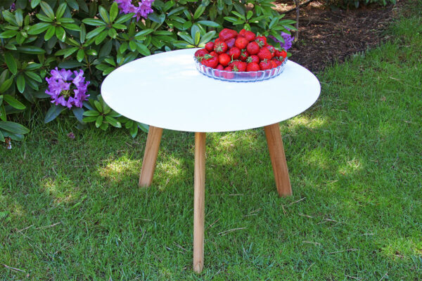 Ille nowoczesny stolik kawowy drewno teakowe aluminium biały Twojasiesta luksusowe meble ogrodowe