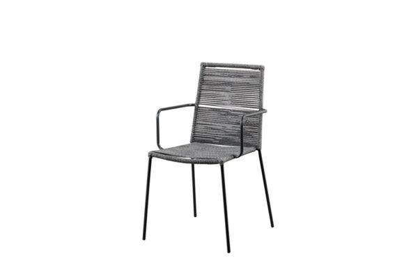 Kea nowoczesne krzesło ogrodowe z podłokietnikami lina polipropylenowa kolor szary | SUNS