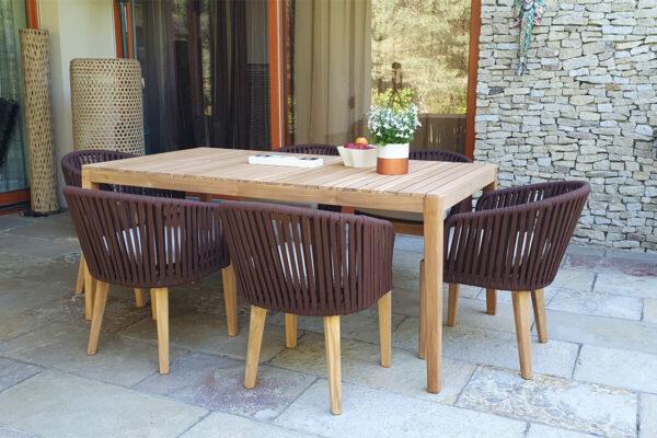 Manacor elegancki zestaw obiadowy na taras 6 osobowy stół teakowy krzesła ogrodowe Twojasiesta luksusowe meble na taras