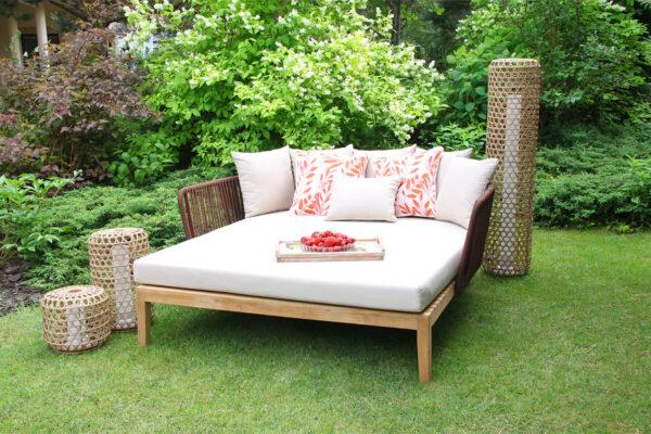 Manacor luksusowa leżanka ogrodowa lampy ogrodowe Spelt Silo poduszki ozdobne Doble Twojasiesta luksusowe meble ogrodowe