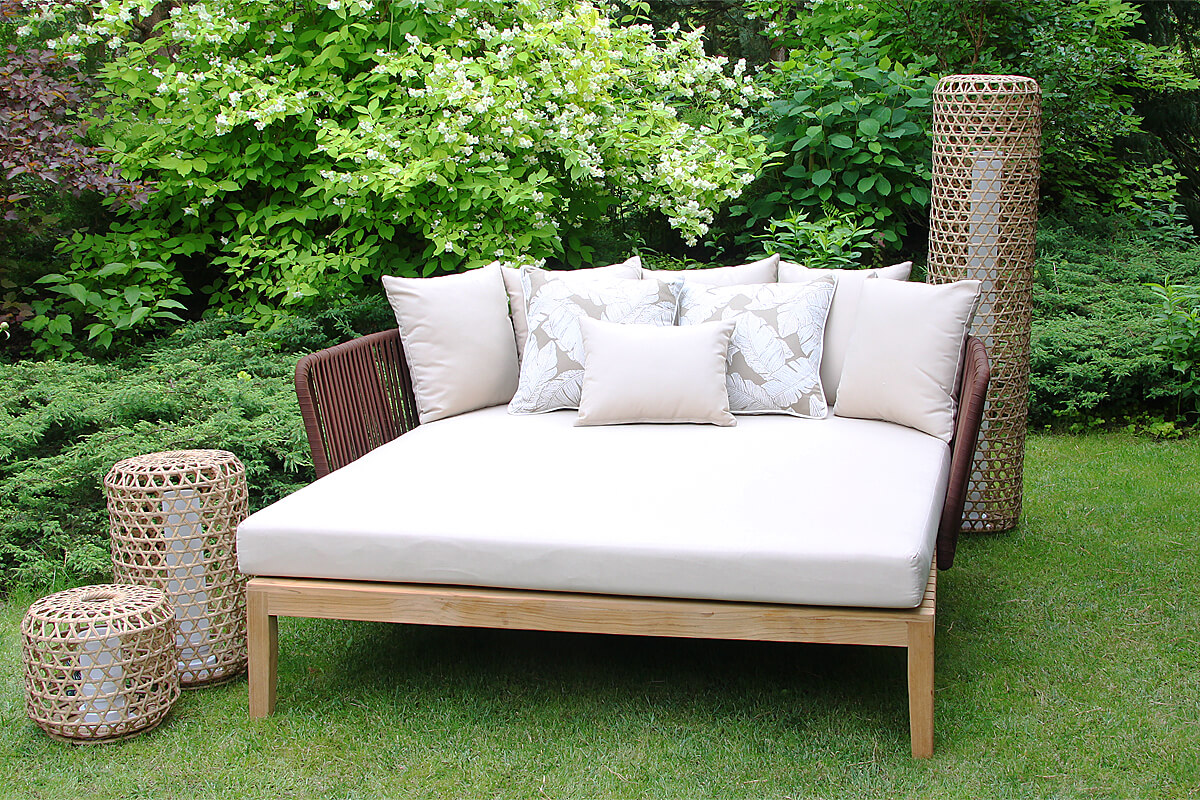 Manacor luksusowa leżanka ogrodowa tarasowa drewno teakowe lina Twojasiesta luksusowe meble otarasowe