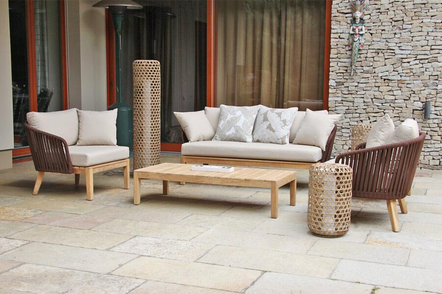 Manacor meble ogrodowe komplet wypoczynkowy sofa podwójna fotele ogrodowe stoliki kawowe lampy ogrodowe Silo Spelt poduszki ogrodowe Doble brązowe pióra