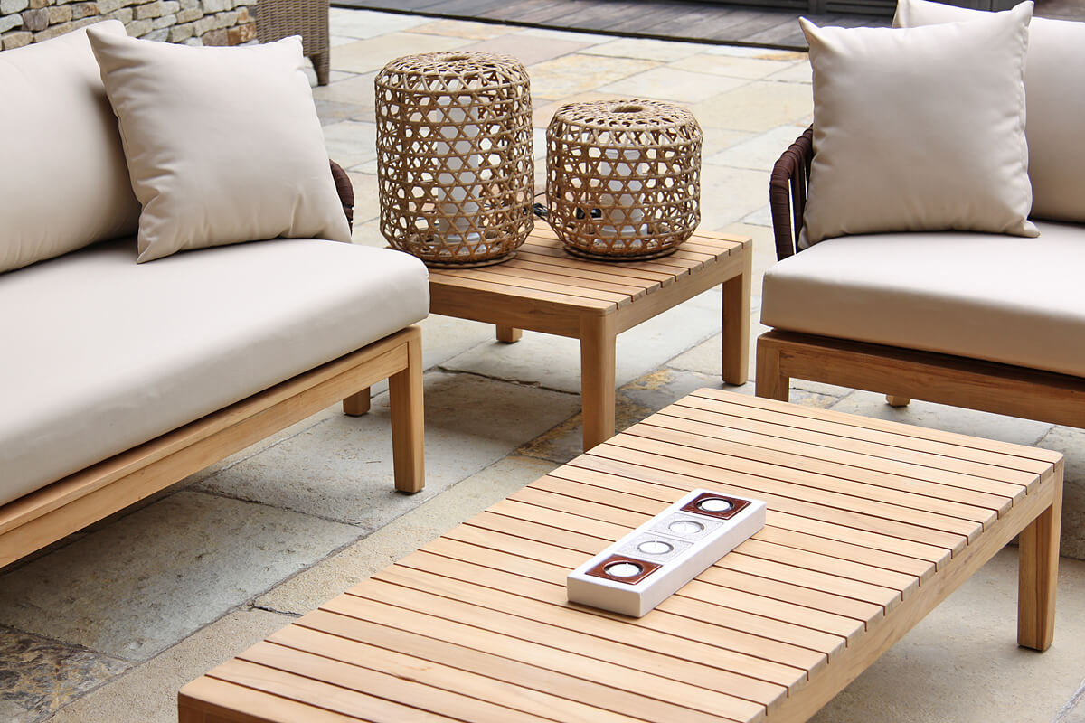 Manacor meble ogrodowe komplet wypoczynkowy stoliki kawowe teakowe lampy ogrodowe Spelt Twojasiesta luksusowe meble ogrodowe