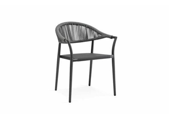 Matera eleganckie krzesło do ogrodu aluminium antracytowe lina Suns