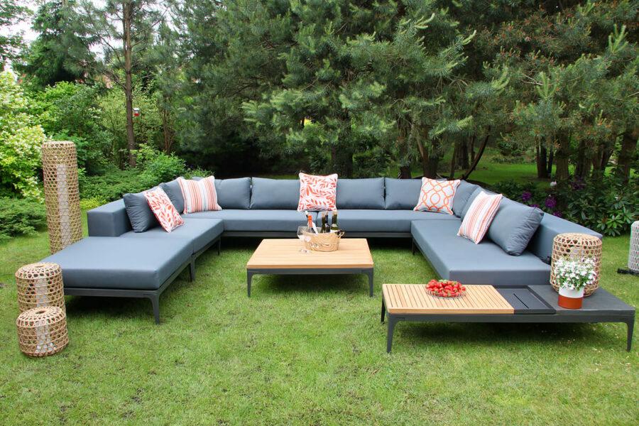 Minori modułowe meble ogrodowe duży narożnik ogrodowy sofy ogrodowe siedziska stolik kawowy teak lampy ogrodowe Spelt Silo Twojasiesta nowoczesne meble ogrodowe