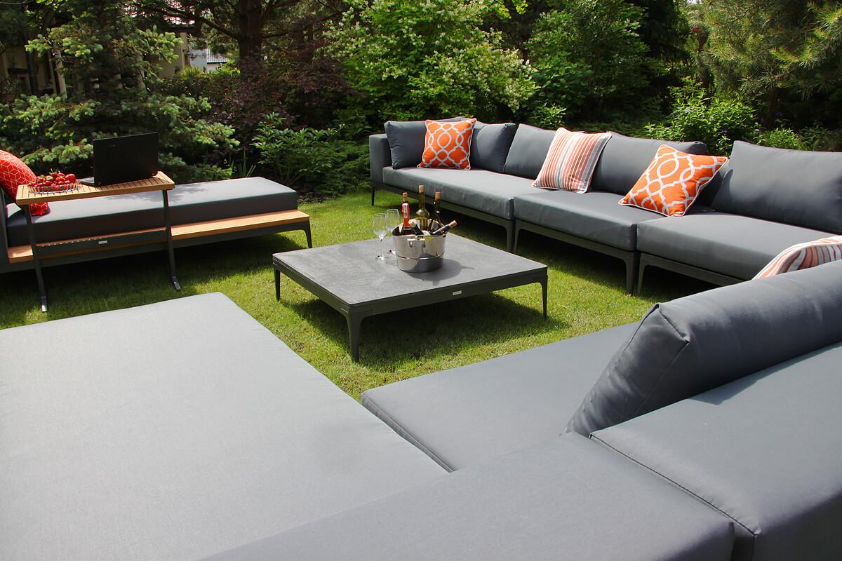 Minori modułowe meble ogrodowe narożnik na taras modułowy stolik kawowy Stone kamienny Twojasiesta eleganckie meble ogrodowe