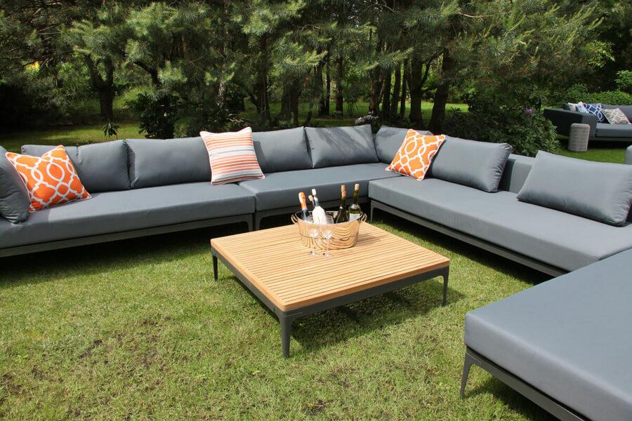 Minori modułowe meble ogrodowe narożnik tarasowy stolik kawowy teak Twojasiesta eleganckie meble ogrodowe