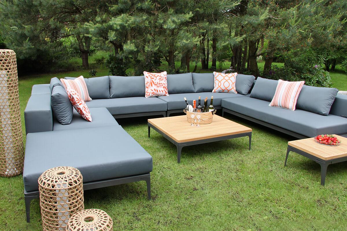 Minori modułowe meble ogrodowe narożny zestaw modułowy sofy ogrodowe siedziska lampy ogrodowe stoliki teakowe Twojasiesta nowoczesne meble ogrodowe