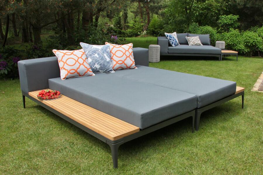 Minori modułowe meble ogrodowe szezlong leżanka ogrodowa lewa prawa stolik teakowy Twojasiesta modułowe meble ogrodowe