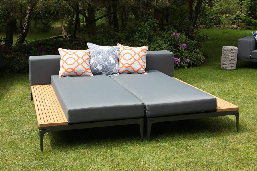 Minori modułowe meble ogrodowe szezlong leżanka ogrodowa lewa prawa stolik teakowy Twojasiesta nowoczesne meble ogrodowe