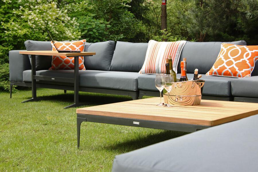 Minori modułowe meble ogrodowe wysoki stolik kawowy teak Twojasiesta nowoczesne meble ogrodowe